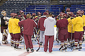 BC gathers at center ice around Jerry York - The Boston College Eagles took their morning skate on Saturday, April 8, 2006, at the Bradley Center in Milwaukee, Wisconsin to prepare for the 2006 Frozen Four Final game versus the University of Wisconsin.