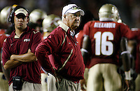 TALLAHASSEE, FL 10/10/09-FSU-Ga. Tech FB09 CH42-Florida State Head Coach Bobby Bowden monitors the Georgia Tech game during second half action Saturday at Doak Campbell Stadium in Tallahassee. The Seminoles lost to the Yellow Jackets 49-44..COLIN HACKLEY PHOTO