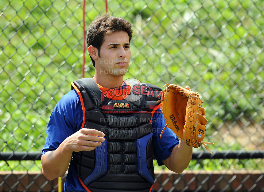 August 2, 2009: Catcher Michael Moras (7) of the Kingsport Mets, rookie Appalachian League affiliate of the New York Mets, before a game at Pioneer Park in Greeneville, Tenn. Photo by:  Tom Priddy/Four Seam Images