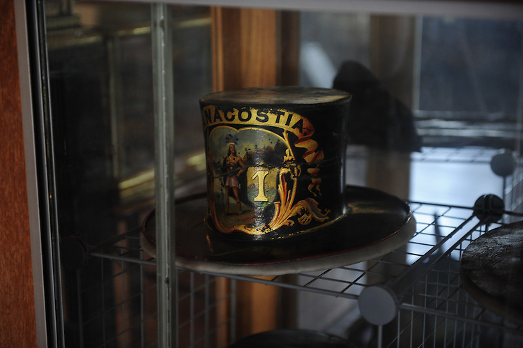 UNITED STATES - July 8: The leather parade hat from the original Anacostia Fire Company sits on display at the Friendship Fire Association's Washington D.C.  Fire & EMS Museum. July 8, 2010.(Photo By Douglas Graham/Roll Call via Getty Images)