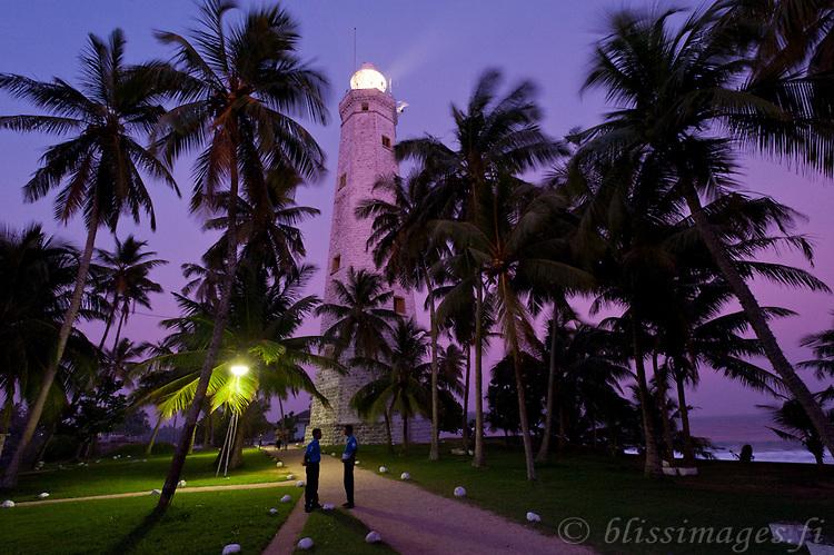 Beautiful twilight amongst the palms at Dondra Head Lighthouse on the southern tip of Sri Lanka.