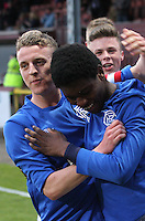 Junior Ogen congratulated by Tom Walsh after scoring his second goal in the Celtic v Rangers City of Glasgow Cup Final match played at Firhill Stadium, Glasgow on 29.4.13,  organised by the Glasgow Football Association and sponsored by City Refrigeration Holdings Ltd.