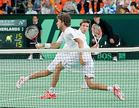 08-05-10, Tennis, Zoetermeer, Daviscup Nederland-Italie, Dubbles Robin Haase and Igor Sijsling  Simone Bolelli and Potito Starace