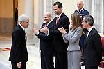 Andres Rabago 'El Roto', Prince Felipe of Spain and Princess Letizia of Spain attend the National Awards of Culture 2011 and 2012 at Palacio de El Pardo. February 19, 2013. (ALTERPHOTOS/Caro Marin)