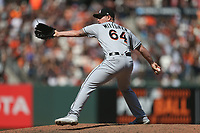 SAN FRANCISCO, CA - JULY 9:  Nick Wittgren #64 of the Miami Marlins pitches against the San Francisco Giants during the game at AT&T Park on Sunday, July 9, 2017 in San Francisco, California. (Photo by Brad Mangin)