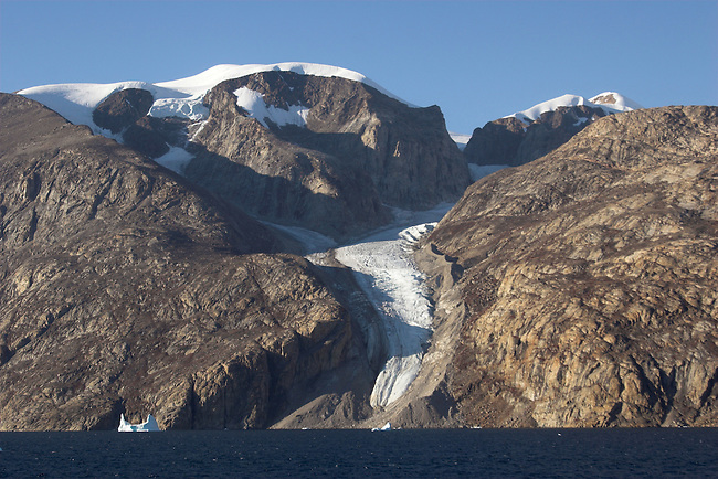 Glacier with very clear lateral moraines flows towards Nordvest Fjord. East Greenland