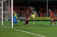 Exeter City's Reuben Reid has his shot blocked during the Sky Bet League 2 match between Crawley Town and Exeter City at Broadfield Stadium, Crawley, England on 28 February 2017. Photo by Carlton Myrie / PRiME Media Images.