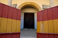 Entrance to Plaza de Toros de Ronda, a bullring arena in Ronda, Andalusia, Spain.