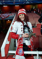 A Bayern Munich fan before the UEFA Champions League round of 16 match between Arsenal and Bayern Munich at the Emirates Stadium, London, England on 7 March 2017. Photo by Alan  Stanford / PRiME Media Images.