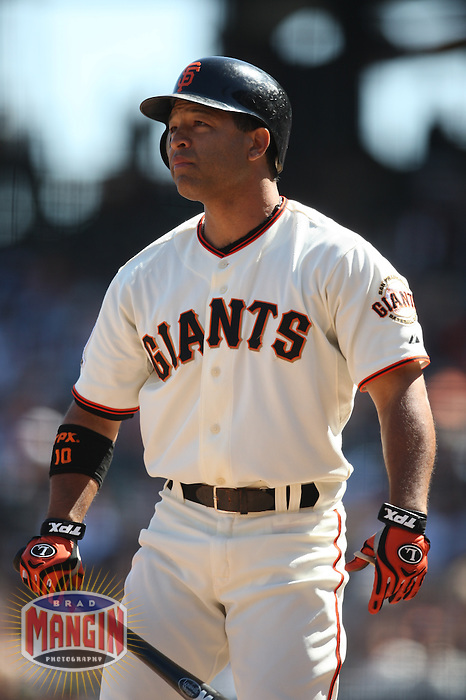 SAN FRANCISCO - SEPTEMBER 7:  Dave Roberts of the San Francisco Giants bats during the game against the Pittsburgh Pirates at AT&T Park in San Francisco, California on September 7, 2008.  The Giants defeated the Pirates 11-6.  Photo by Brad Mangin