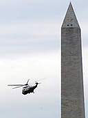 Washington, DC - October 24, 2008 -- Marine One, with United States President George W. Bush on board, flies past the Washington Monument as it departs the White House in Washington on Friday, October 24, 2008. President Bush is traveling to the National Security Agency (NSA) in Fort Meade, Maryland for a briefing.  <br /> Credit: Alexis C. Glenn / Pool via CNP