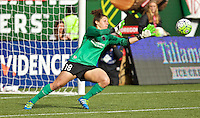 Portland, Oregon - Sunday October 2, 2016: Portland Thorns FC goalkeeper Michelle Betos (18) dives for the ball during a semi final match of the National Women's Soccer League (NWSL) at Providence Park.