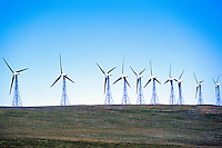 Wind Turbines generating Renewable Wind Energy Power - Industry near Pincher Creek, Southern Alberta (AB), Canada, Canadian Rocky Mountain Foothills