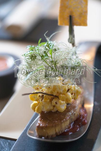 """Europe/France/Rhône-Alpes/42/Loire/Saint-Just Saint-Rambert:  Foie gras cuit au sautoir  quetsches confites et bugne lyonnaise recette de Christophe Roure Chef du Restaurant """"Le Neuvième Art"""""""