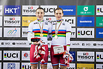 The team of Russia with Anastasiia Voinova and Daria Shmeleva celebrates winning in the Women's Team Sprint Final as part of the 2017 UCI Track Cycling World Championships on 12 April 2017, in Hong Kong Velodrome, Hong Kong, China. Photo by Chris Wong / Power Sport Images