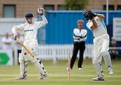 Scottish National Cricket League - Premier Div - West of Scotland CC V Aberdeenshire, at Hamilton Cres, Glasgow - West batsman Ross Brown adopts a one-handed stance to fend off the ball, in front of 'Shire keeper Colin Smith - Picture by Donald MacLeod 11.07.09