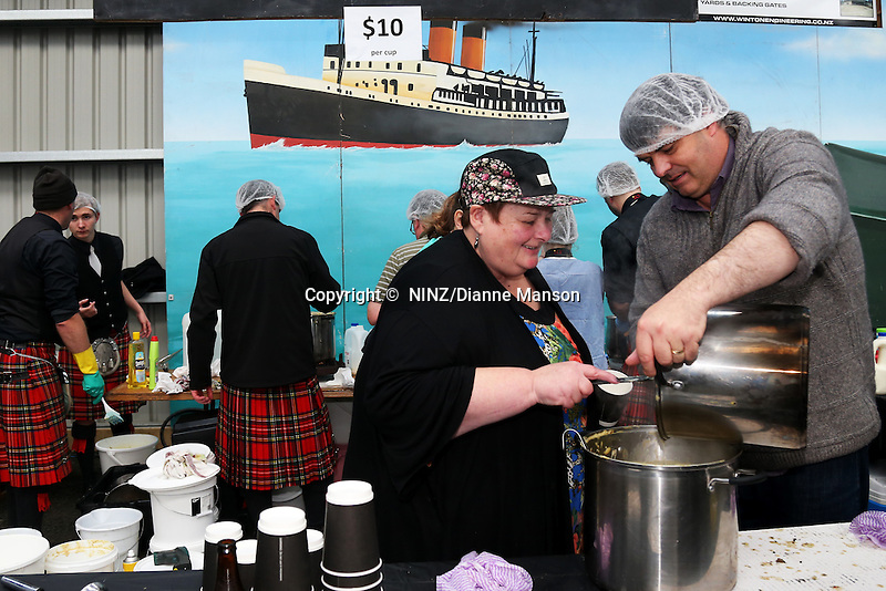 City of Invercargill Pipe Band Seafood team busy serving their chowder food stall at the Bluff Oyster and Food Festival, Bluff, New Zealand, Saturday, May 21, 2016. Credit: Dianne Manson