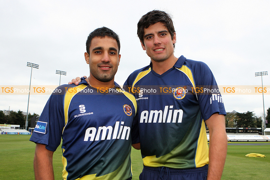 Alastair Cook (R) and Ravi Bopara of Essex in their Friends Provident T20 kit - Essex CCC Press Day at The Ford County Ground, Chelmsford - 05/04/11 - MANDATORY CREDIT: Gavin Ellis/TGSPHOTO - Self billing applies where appropriate - Tel: 0845 094 6026