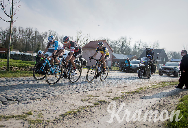 race leaders Greg Van Avermaet (BEL/BMC), Philippe Gilbert (BEL/Quick Step floors) &amp; Oliver Naesen (BEL/AG2R-LaMondiale) on the Varent cobbles<br /> <br /> 60th E3 Harelbeke (1.UWT)<br /> 1day race: Harelbeke &rsaquo; Harelbeke - BEL (206km)