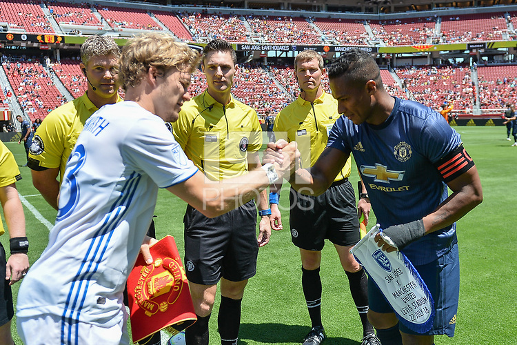 Santa Clara, CA - Sunday July 22, 2018: Florian Jungwirth, Antonio Valencia during a friendly match between the San Jose Earthquakes and Manchester United FC at Levi's Stadium.