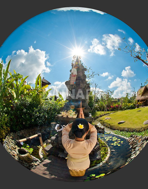 "The Balinese temple at Fivelements faces east to the rishing sun and Mount Agung -- Bali's ""navel of the world""."