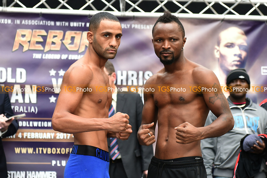 Boxers Kid Galahad (L) and Joseph Agbeko during a Poxon Sports Weigh-In at Westfield Shopping Centre on 3rd February 2017