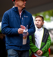 LOUISVILLE, KY - MAY 06: A young spectator looks up to his father on Kentucky Derby Day at Churchill Downs on May 6, 2017 in Louisville, Kentucky. (Photo by Scott Serio/Eclipse Sportswire/Getty Images)