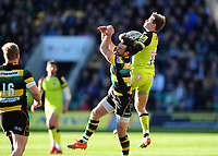 Matthew Tait of Leicester Tigers claims the ball in the air. Aviva Premiership match, between Northampton Saints and Leicester Tigers on March 25, 2017 at Franklin's Gardens in Northampton, England. Photo by: Patrick Khachfe / JMP