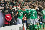 08.03.2019, Weser Stadion, Bremen, GER, 1.FBL, Werder Bremen vs FC Schalke 04, <br /> <br /> DFL REGULATIONS PROHIBIT ANY USE OF PHOTOGRAPHS AS IMAGE SEQUENCES AND/OR QUASI-VIDEO.<br /> <br />  im Bild<br /> <br /> jubel Max Kruse (Werder Bremen #10) Davy Klaassen (Werder Bremen #30)<br /> Theodor Gebre Selassie (Werder Bremen #23)<br /> <br /> Foto &copy; nordphoto / Kokenge