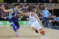 GB's Devon Van Oostrum holds off Nemanja Gordic of Bosnia & Herzegovina during the EuroBasket 2015 2nd Qualifying Round Great Britain v Bosnia & Herzegovina (Euro Basket 2nd Qualifying Round) at Copper Box Arena in London. - 13/08/2014