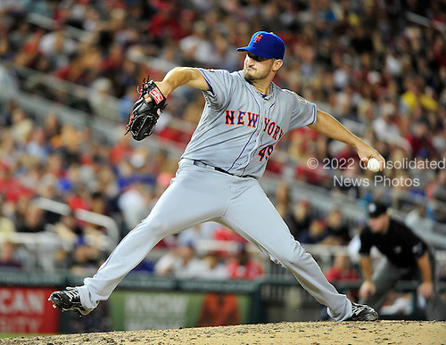 New York Mets pitcher Jon Niese (49) pitches in the eighth inning against the Washington Nationals at Nationals Park in Washington, D.C. on Saturday, August 18, 2012.  .Credit: Ron Sachs / CNP.(RESTRICTION: NO New York or New Jersey Newspapers or newspapers within a 75 mile radius of New York City)