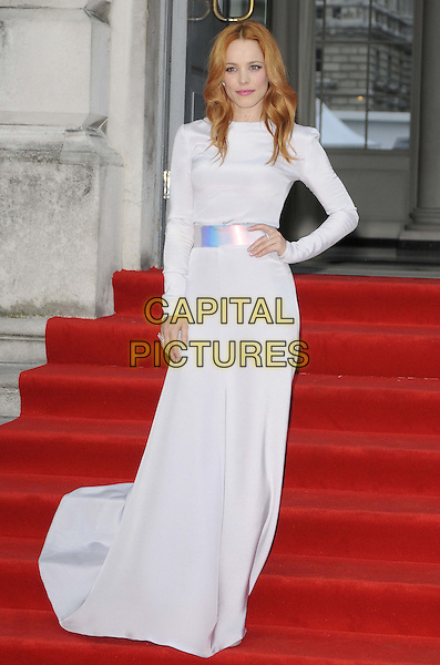 Rachel McAdams<br /> attended the &quot;About Time&quot; UK film premiere to open Somerset House's Film4 season of outdoor cinema, Somerset House, the Strand, London, England, UK, 8th August 2013.<br /> full length white long sleeve maxi dress silver belt waistband hand on hip <br /> CAP/CAN<br /> &copy;Can Nguyen/Capital Pictures