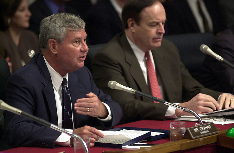5terrorism092401 -- Bob Graham, D-Fla., and Richard C. Shelby, R-Al., during a hearing on terrorism and counter terrorism measures before the Senate Sellect Intelligence committee.