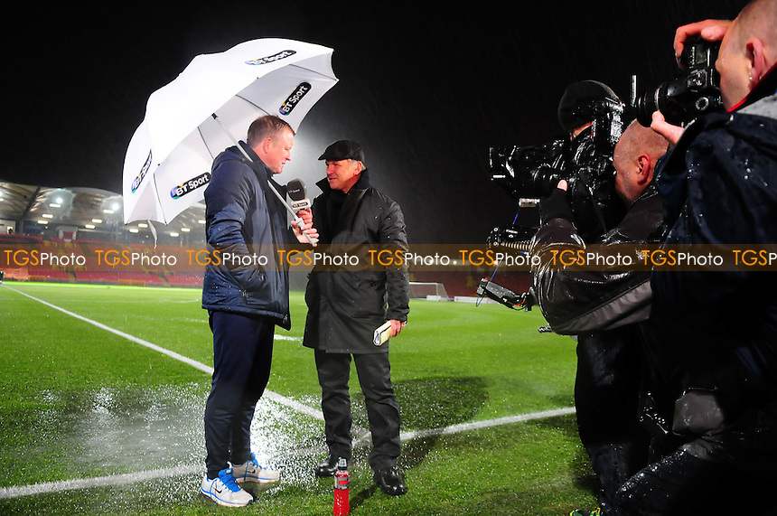 Gateshead FC manager Gary Mills chats to BT Sport Presenters after the game is called off - Gateshead vs Oxford United - FA Cup 1st Round Replay at the Gateshead International Stadium - 20/11/13 - MANDATORY CREDIT: Steven White/TGSPHOTO - Self billing applies where appropriate - 0845 094 6026 - contact@tgsphoto.co.uk - NO UNPAID USE