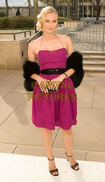 "DIANE KRUGER.Opening Night of ""La Fille du Regiment"" at The Metropolitan Opera, Lincoln Center, New York, NY, USA..April 21st, 2008.full length pink fuschia halterneck dress black belt fur wrap shoes clutch bag .CAP/LNC/TOM.©TOM/LNC/Capital Pictures."