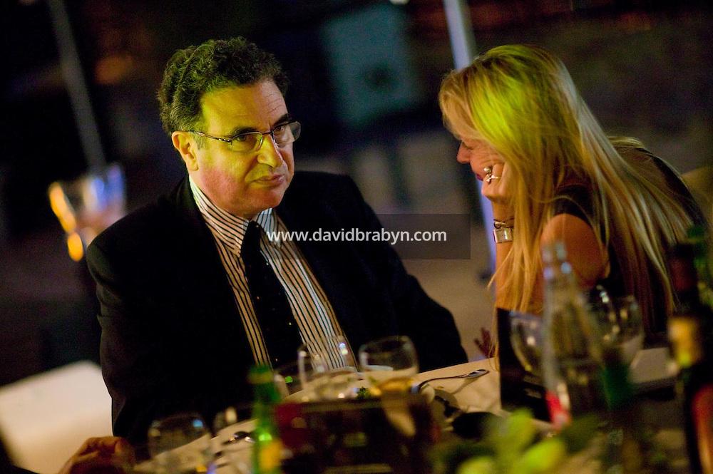 Serge Tubiana (G), diner, 20 ans de la Fondation Groupama-Gan pour le Cinema, Cannes, France, 18 mai 2007.