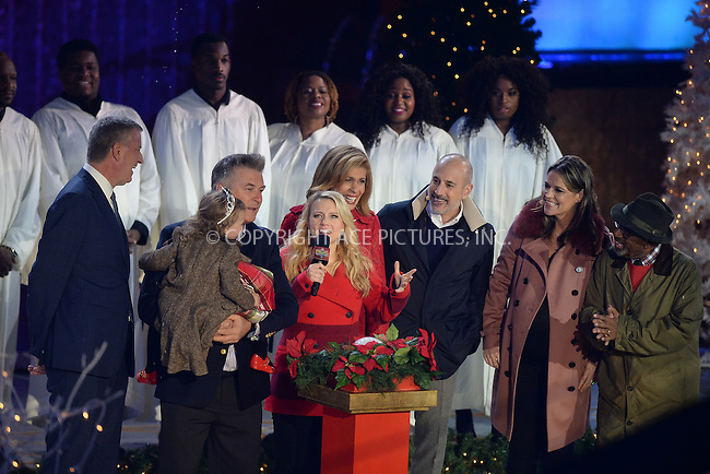 www.acepixs.com<br /> November 30, 2016  New York City<br /> <br /> Bill de Blasio, Carmen Baldwin, Alec Baldwin, Kate McKinnon, Hoda Kotb, Matt Lauer, Savannah Guthrie and Al Roker on stage at The Rockefeller Center Christmas Tree lighting ceremony on November 30, 2016 in New York City.<br /> <br /> <br /> Credit: Kristin Callahan/ACE Pictures<br /> <br /> <br /> Tel: 646 769 0430<br /> Email: info@acepixs.com