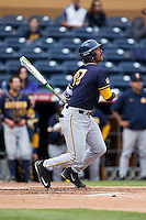 Devin Pearson (27) of the California Golden Bears follows through on his swing against the Duke Blue Devils at Durham Bulls Athletic Park on February 20, 2016 in Durham, North Carolina.  The Blue Devils defeated the Golden Bears 6-5 in 10 innings.  (Brian Westerholt/Four Seam Images)