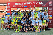 3rd February 2019, Spotless Stadium, Sydney, Australia; HSBC Sydney Rugby Sevens; New Zealand versus Australia; Womens Final; winners New Zealand, runners up Australia nad thrid place USA
