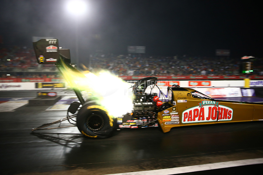Apr 21, 2017; Baytown, TX, USA; NHRA top fuel driver Leah Pritchett during qualifying for the Springnationals at Royal Purple Raceway. Mandatory Credit: Mark J. Rebilas-USA TODAY Sports