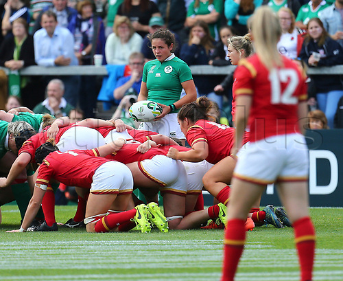 26th August 2017, Kingspan Stadium, Belfast, Northern Ireland; Womens Rugby World Cup, 7th Place Play-off; Ireland Women versus Wales Women; Larissa Muldoon of Ireland waiting to put the ball into the scrum