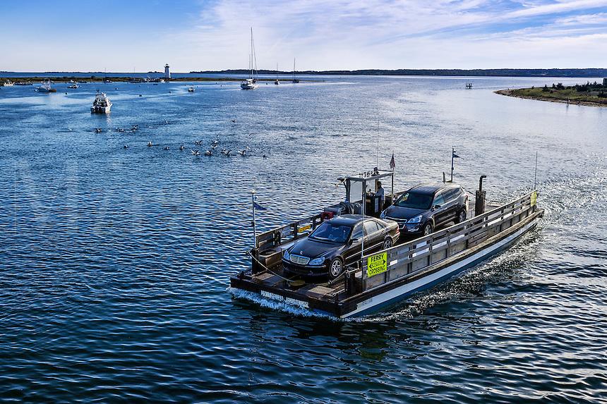Chappaquiddick ferry to Edgardtown, Martha's Vineyard, Massachusetts, USA
