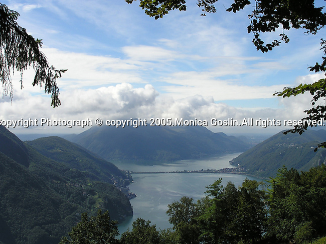 View of Lake Lugano, Switzerland from on top of Bre Mountain.