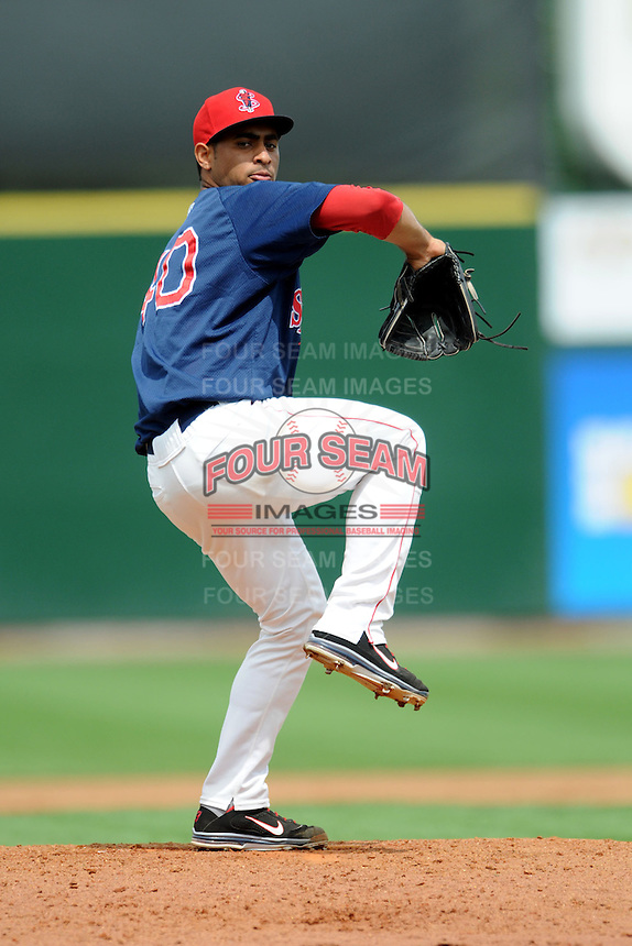 Lowell Spinners pitcher Francisco Taveras #40 during a game versus the Hudson Valley Renegades at LeLacheur Park in Lowell, Massachusetts on August 19, 2012. (Ken Babbitt/Four Seam Images)