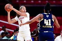 College Park, MD - NOV 29, 2017: Maryland Terrapins forward Shakira Austin (1) handles the ball during ACC/Big Ten Challenge game between Gerogia Tech and the No. 7 ranked Maryland Terrapins. Maryland defeated The Yellow Jackets 67-54 at the XFINITY Center in College Park, MD.  (Photo by Phil Peters/Media Images International)