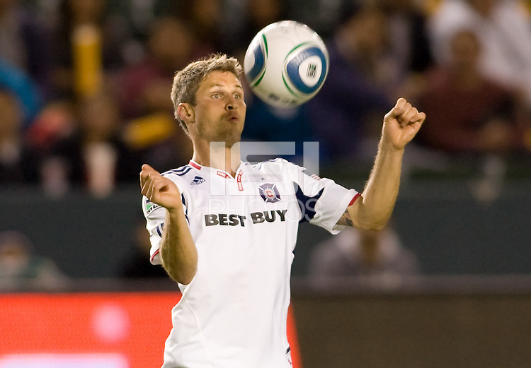 Chicago Fire midfielder Logan Pause traps the ball. The Chicago Fire defeated CD Chivas USA 3-1 at Home Depot Center stadium in Carson, California on Saturday October 23, 2010.