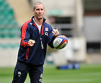 Twickenham, England. England head coach Stuart Lancaster during the England captains run for the QBE Internationals England v Fiji at Twickenham Stadium on 10 November. Twickenham, England, November 9. 2012.