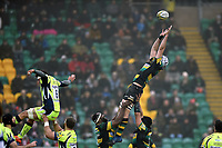 Michael Paterson of Northampton Saints rises high to win lineout ball. Aviva Premiership match, between Northampton Saints and Sale Sharks on March 3, 2018 at Franklin's Gardens in Northampton, England. Photo by: Patrick Khachfe / JMP