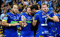 Warrington Wolves' Josh Charnley celebrates scoring the opening try with Stefan Ratchford<br /> <br /> Photographer Alex Dodd/CameraSport<br /> <br /> Betfred Super League Grand Final - Wigan Warriors v Warrington Wolves - Saturday 13th October 2018 - Old Trafford - Manchester<br /> <br /> World Copyright &copy; 2018 CameraSport. All rights reserved. 43 Linden Ave. Countesthorpe. Leicester. England. LE8 5PG - Tel: +44 (0) 116 277 4147 - admin@camerasport.com - www.camerasport.com