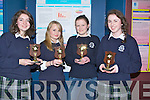 3rd: Presentation Secondry School, Tralee leaving cert student who came 3rd in the Team maths Quiz 2013 Regional Round, up in the ITT South Campus Tralee on Friday evening, L-r: Aisling Moriarty, Aiwa Osuch, Eleanor Murphy and Mairead Reidy.